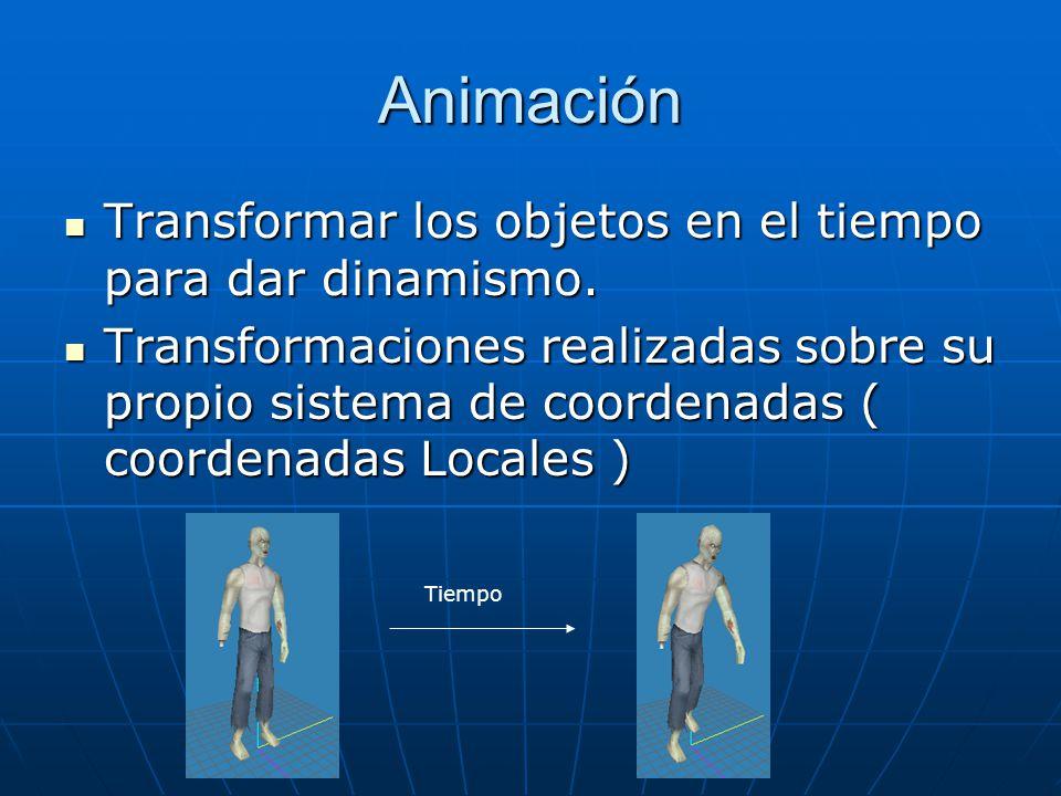 Animación Transformar los objetos en el tiempo para dar dinamismo. Transformar los objetos en el tiempo para dar dinamismo. Transformaciones realizada