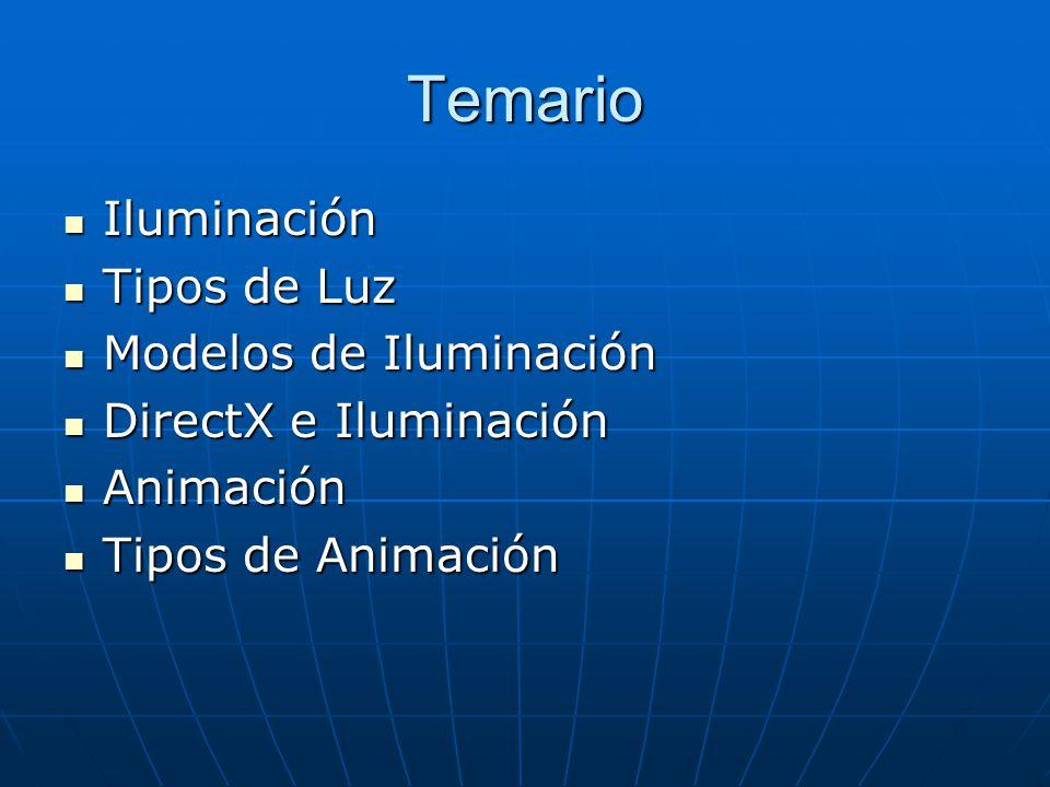 Temario Iluminación Iluminación Tipos de Luz Tipos de Luz Modelos de Iluminación Modelos de Iluminación DirectX e Iluminación DirectX e Iluminación An