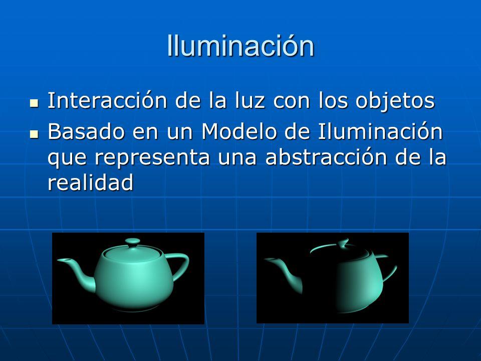 Iluminación Interacción de la luz con los objetos Interacción de la luz con los objetos Basado en un Modelo de Iluminación que representa una abstracc