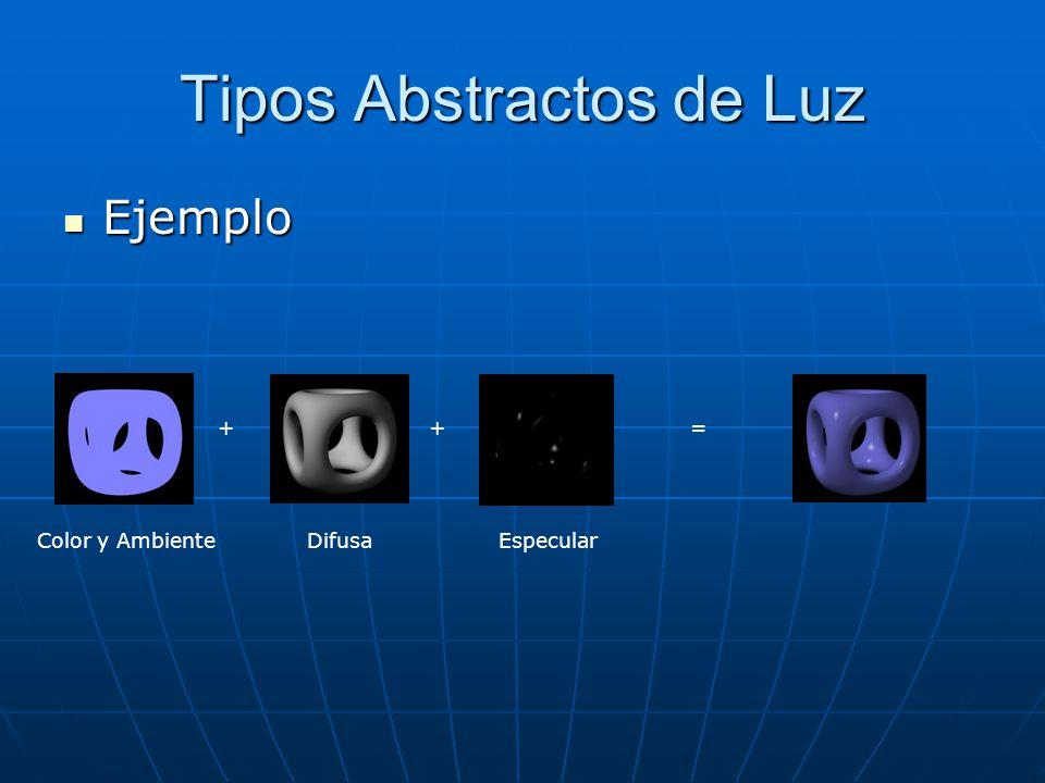 Tipos Abstractos de Luz Ejemplo Ejemplo Color y AmbienteDifusaEspecular + +=