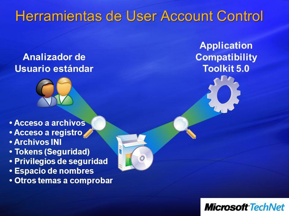 Herramientas de User Account Control Analizador de Usuario estándar Application Compatibility Toolkit 5.0 Acceso a archivos Acceso a registro Archivos INI Tokens (Seguridad) Privilegios de seguridad Espacio de nombres Otros temas a comprobar