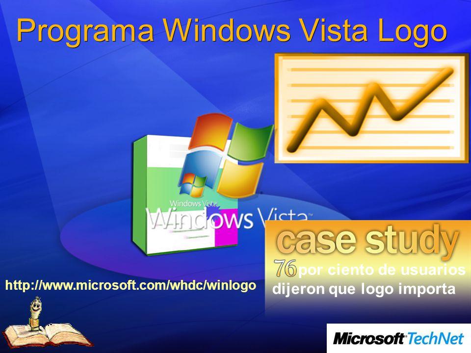 Programa Windows Vista Logo por ciento de usuarios dijeron que logo importa http://www.microsoft.com/whdc/winlogo