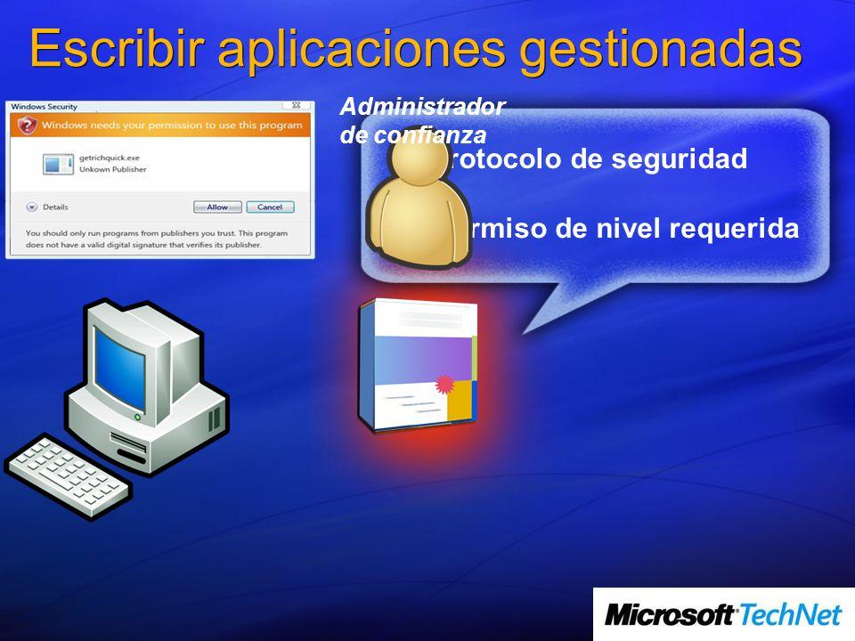 Protocolo de seguridad Permiso de nivel requerida Escribir aplicaciones gestionadas Administrador de confianza
