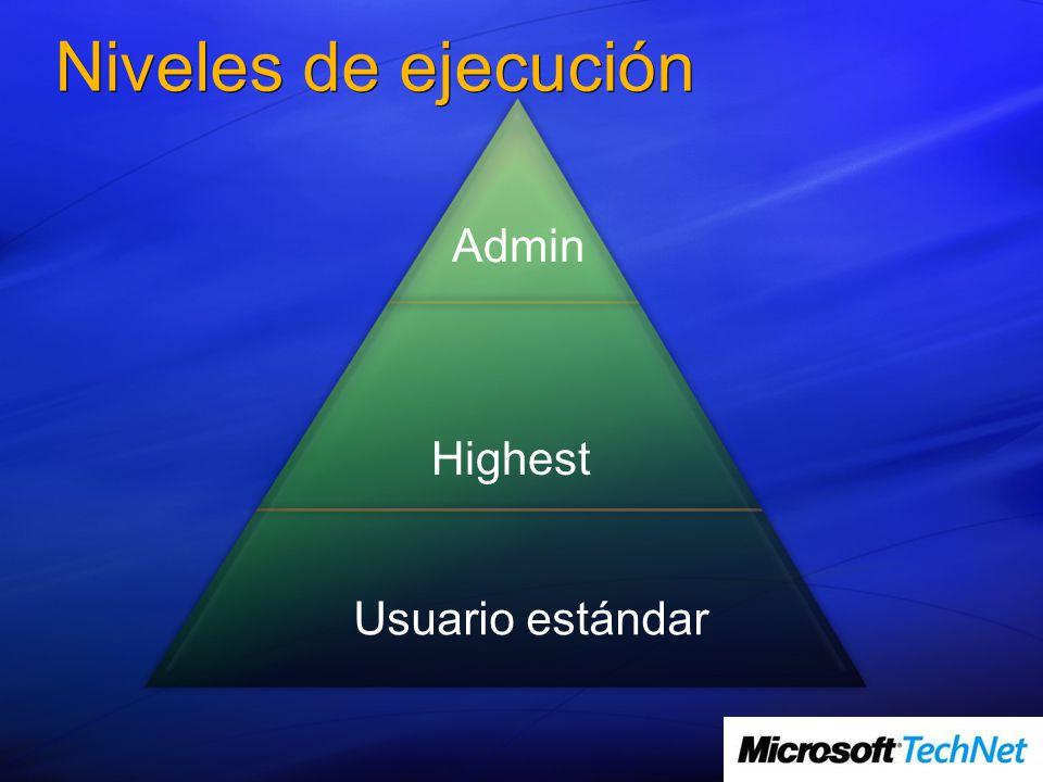 Niveles de ejecución Usuario estándar Highest Admin