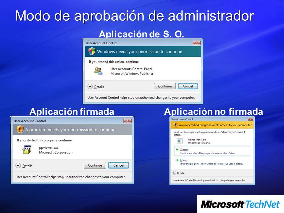 Modo de aprobación de administrador Aplicación de S. O. Aplicación firmadaAplicación no firmada