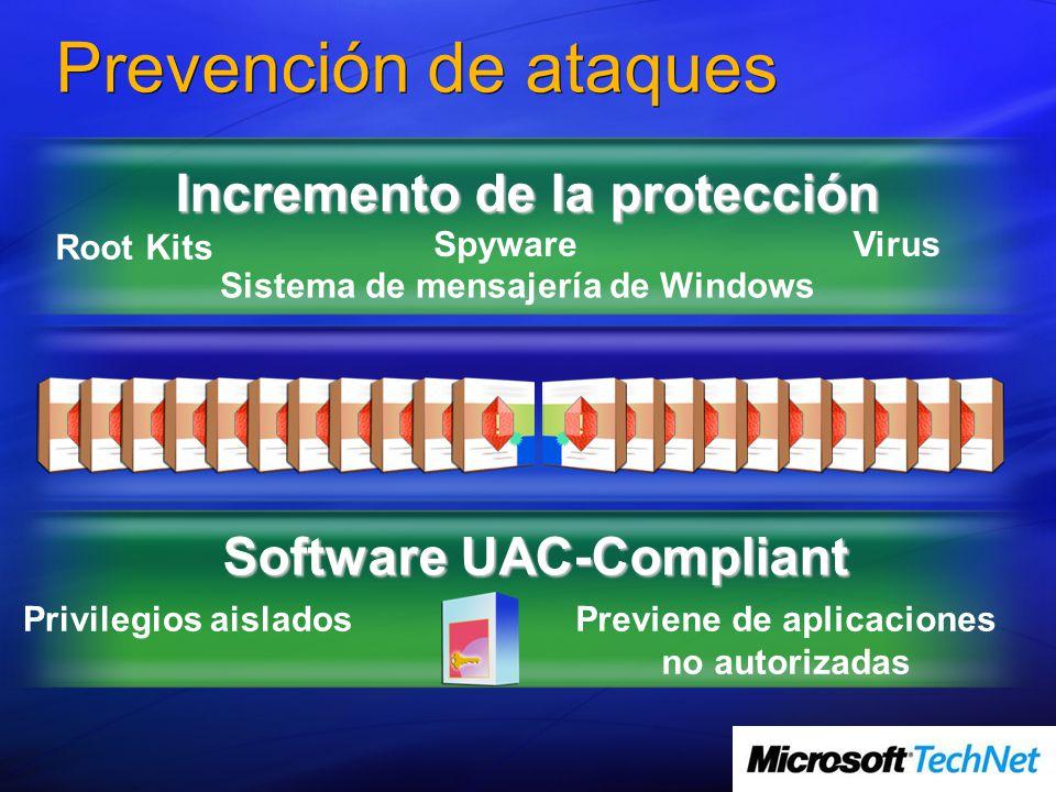 Software UAC-Compliant Prevención de ataques Incremento de la protección Root Kits SpywareVirus Sistema de mensajería de Windows Privilegios aisladosPreviene de aplicaciones no autorizadas