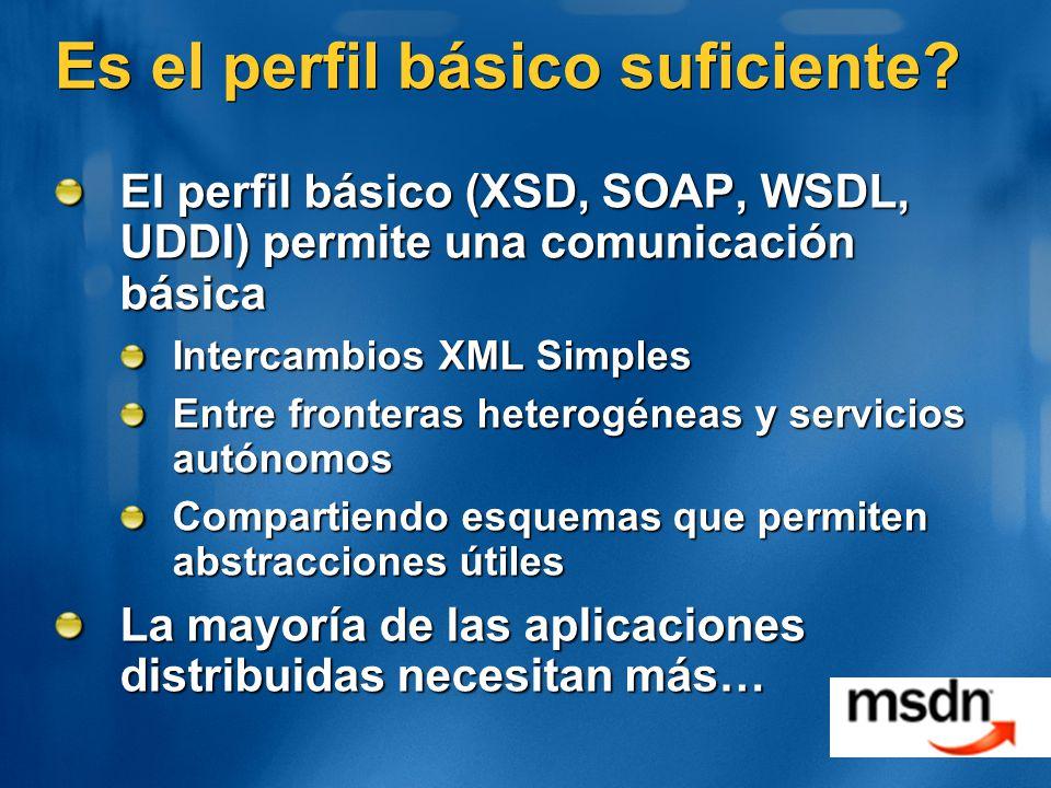 Es el perfil básico suficiente? El perfil básico (XSD, SOAP, WSDL, UDDI) permite una comunicación básica Intercambios XML Simples Entre fronteras hete