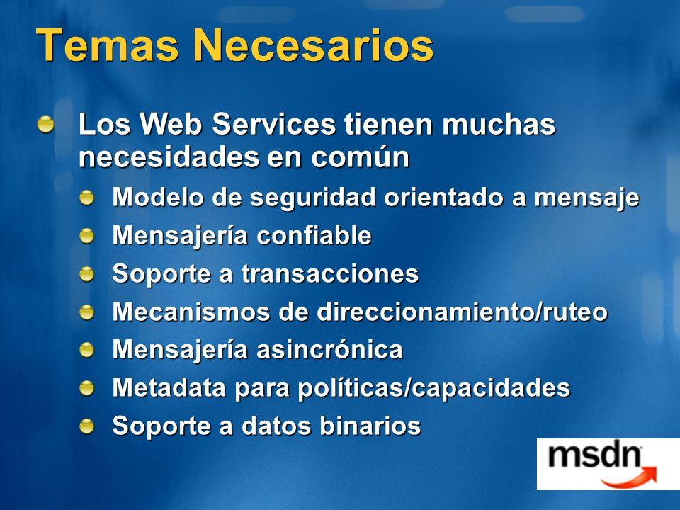 Temas Necesarios Los Web Services tienen muchas necesidades en común Modelo de seguridad orientado a mensaje Mensajería confiable Soporte a transaccio