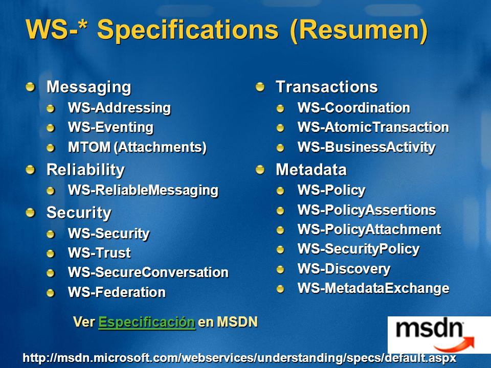 WS-* Specifications (Resumen) MessagingWS-AddressingWS-Eventing MTOM (Attachments) ReliabilityWS-ReliableMessagingSecurityWS-SecurityWS-TrustWS-SecureConversationWS-FederationTransactionsWS-CoordinationWS-AtomicTransactionWS-BusinessActivityMetadataWS-PolicyWS-PolicyAssertionsWS-PolicyAttachmentWS-SecurityPolicyWS-DiscoveryWS-MetadataExchange Ver Especificación en MSDN Especificación http://msdn.microsoft.com/webservices/understanding/specs/default.aspx