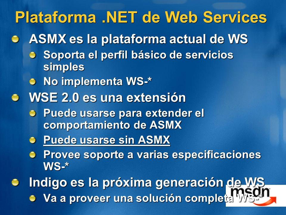 Plataforma.NET de Web Services ASMX es la plataforma actual de WS Soporta el perfil básico de servicios simples No implementa WS-* WSE 2.0 es una extensión Puede usarse para extender el comportamiento de ASMX Puede usarse sin ASMX Provee soporte a varias especificaciones WS-* Indigo es la próxima generación de WS Va a proveer una solución completa WS-*