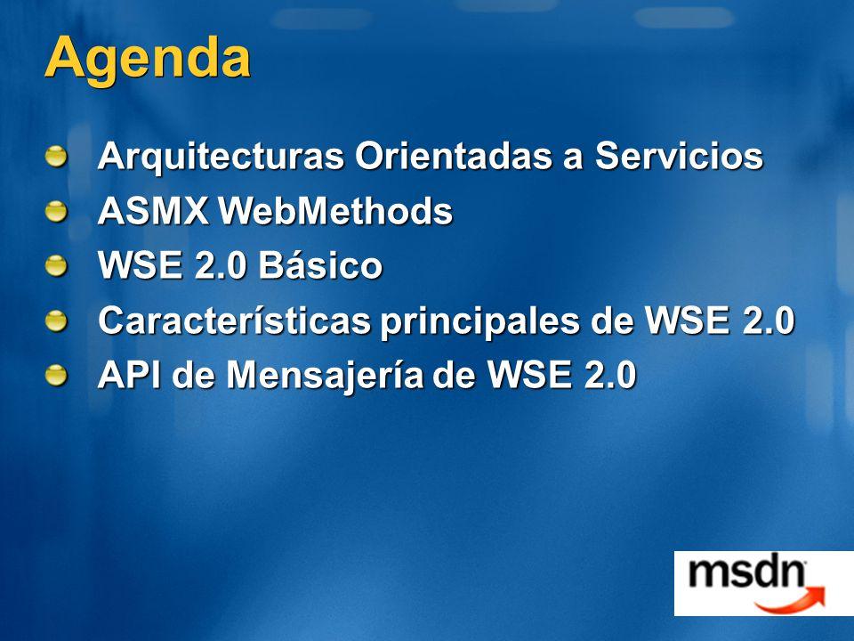Resumen Microsoft s Web Services Enhancements (WSE) provee implementación WS-* para usar en.NET hoy WSE 2.0 extiende el framework de WebMethod WSE 2.0 provee integración con Visual Studio.NET