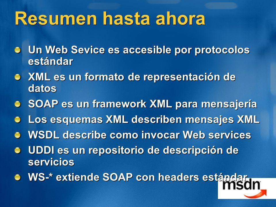 Resumen hasta ahora Un Web Sevice es accesible por protocolos estándar XML es un formato de representación de datos SOAP es un framework XML para mens