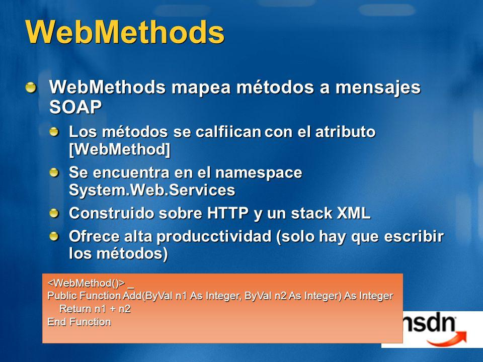 WebMethods WebMethods mapea métodos a mensajes SOAP Los métodos se calfiican con el atributo [WebMethod] Se encuentra en el namespace System.Web.Services Construido sobre HTTP y un stack XML Ofrece alta producctividad (solo hay que escribir los métodos) _ _ Public Function Add(ByVal n1 As Integer, ByVal n2 As Integer) As Integer Return n1 + n2 Return n1 + n2 End Function