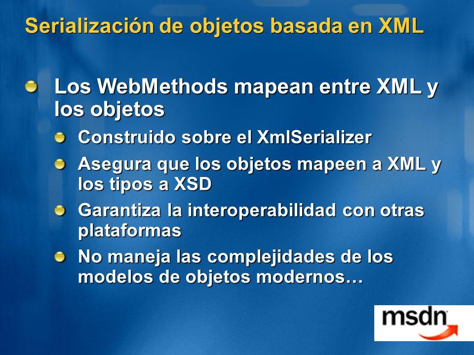 Serialización de objetos basada en XML Los WebMethods mapean entre XML y los objetos Construido sobre el XmlSerializer Asegura que los objetos mapeen