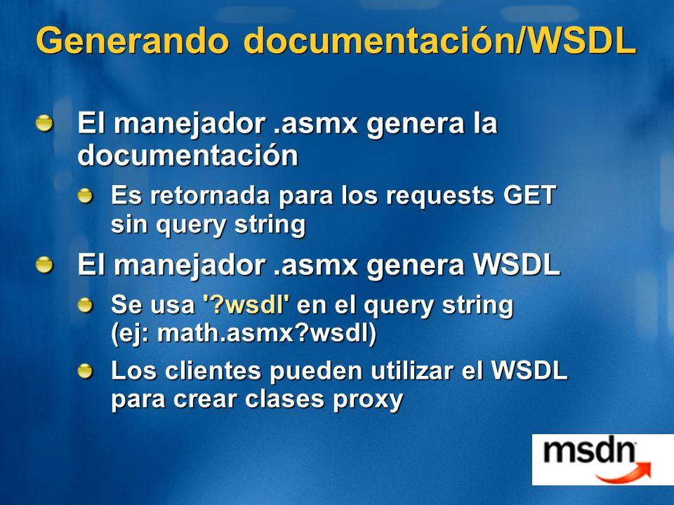 Generando documentación/WSDL El manejador.asmx genera la documentación Es retornada para los requests GET sin query string El manejador.asmx genera WSDL Se usa ?wsdl en el query string (ej: math.asmx?wsdl) Los clientes pueden utilizar el WSDL para crear clases proxy