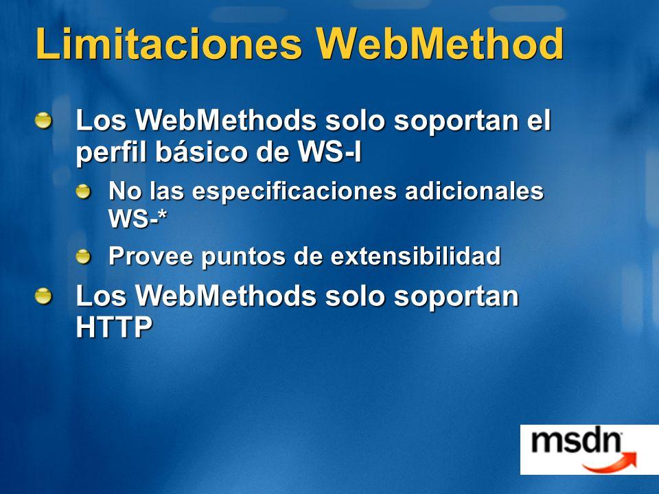 Limitaciones WebMethod Los WebMethods solo soportan el perfil básico de WS-I No las especificaciones adicionales WS-* Provee puntos de extensibilidad