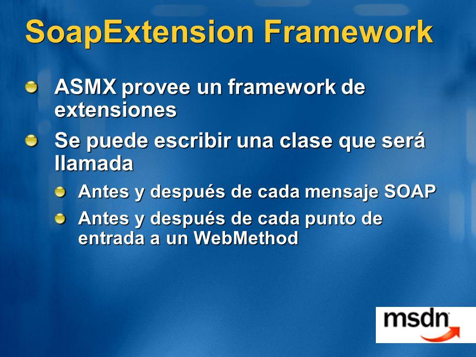SoapExtension Framework ASMX provee un framework de extensiones Se puede escribir una clase que será llamada Antes y después de cada mensaje SOAP Ante
