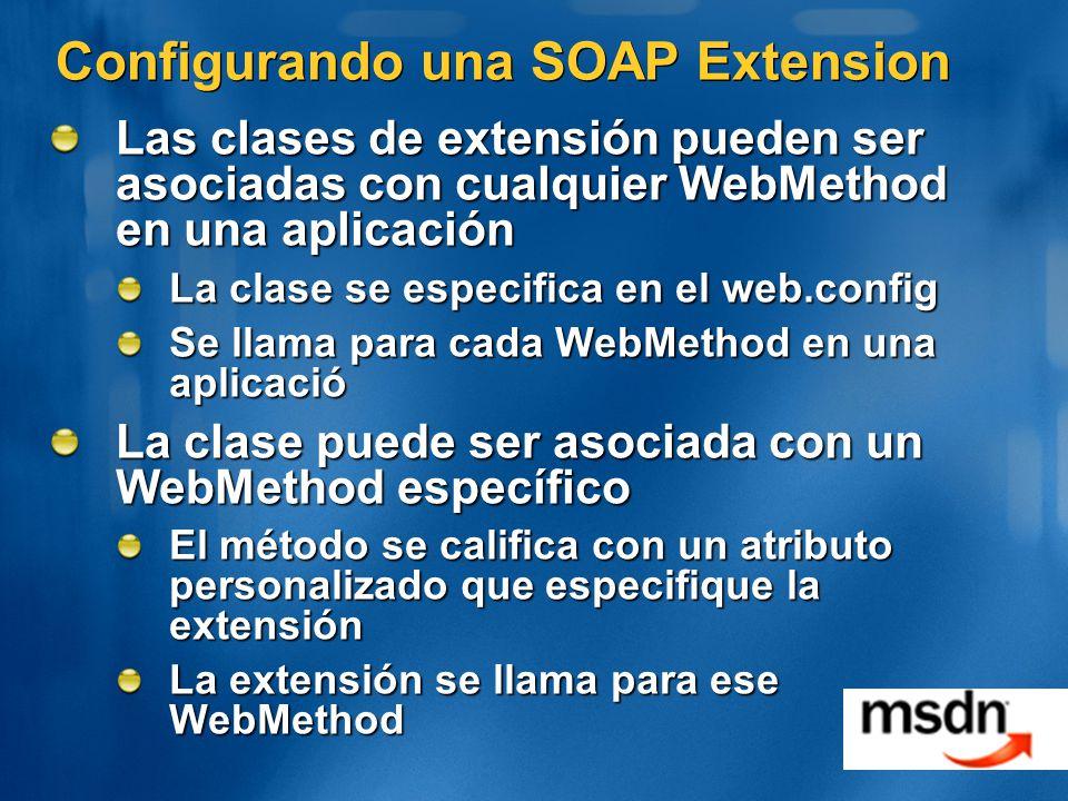 Configurando una SOAP Extension Las clases de extensión pueden ser asociadas con cualquier WebMethod en una aplicación La clase se especifica en el web.config Se llama para cada WebMethod en una aplicació La clase puede ser asociada con un WebMethod específico El método se califica con un atributo personalizado que especifique la extensión La extensión se llama para ese WebMethod