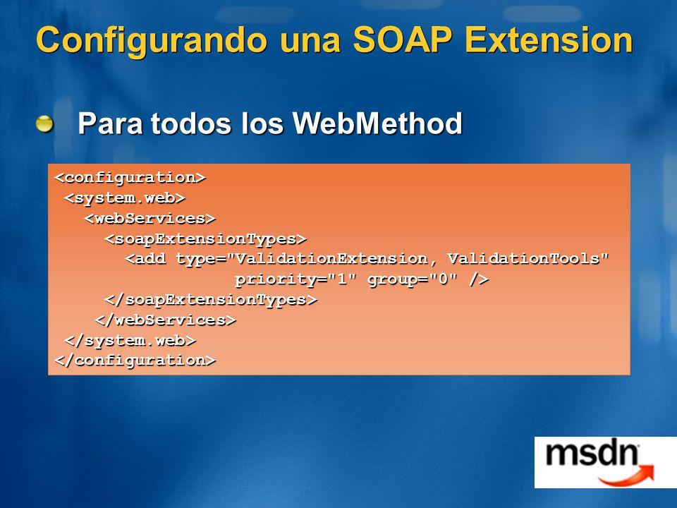 Configurando una SOAP Extension Para todos los WebMethod <configuration> <add type= ValidationExtension, ValidationTools <add type= ValidationExtension, ValidationTools priority= 1 group= 0 /> priority= 1 group= 0 /> </configuration>