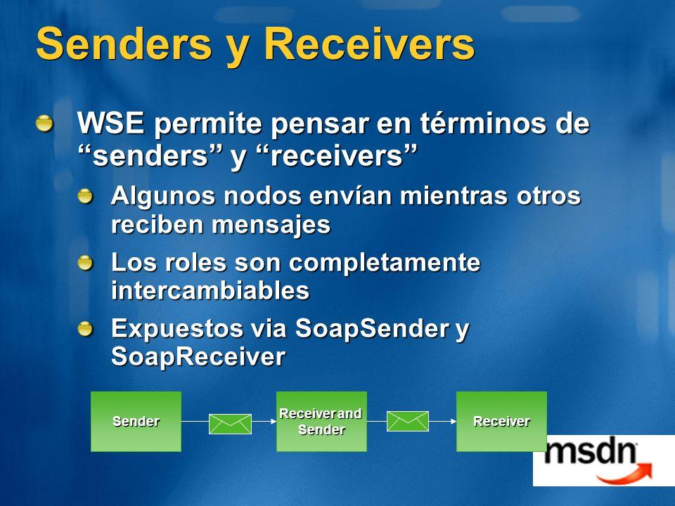Senders y Receivers WSE permite pensar en términos de senders y receivers Algunos nodos envían mientras otros reciben mensajes Los roles son completamente intercambiables Expuestos via SoapSender y SoapReceiver Sender Receiver and SenderReceiver