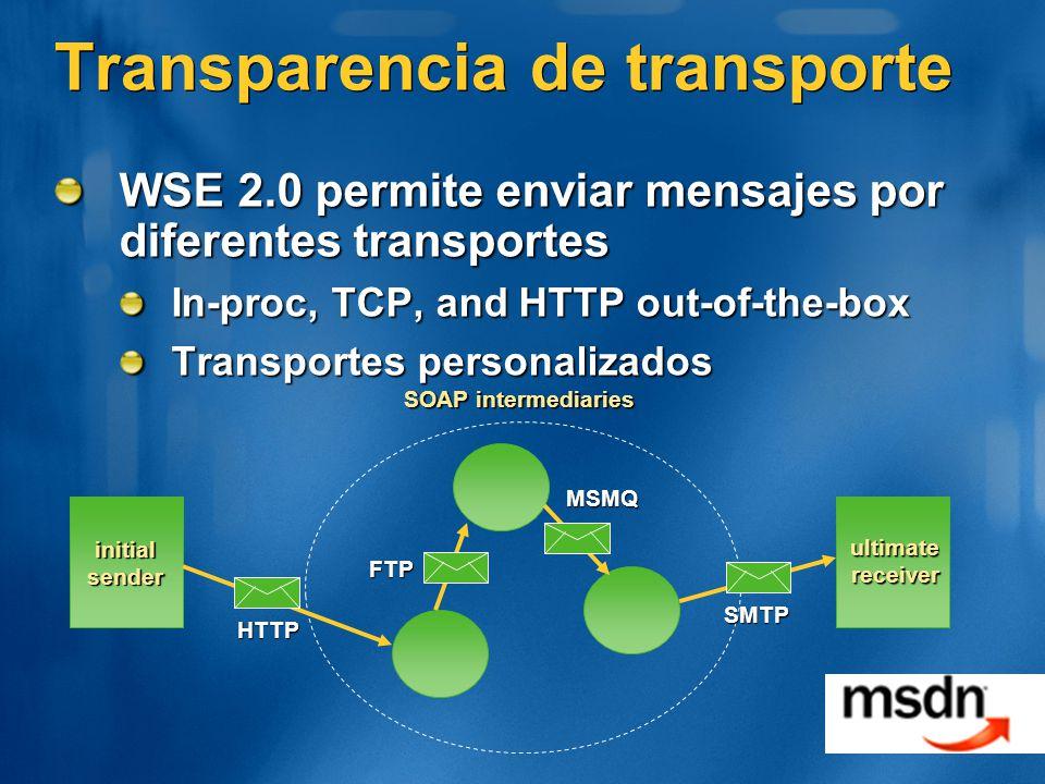 Transparencia de transporte WSE 2.0 permite enviar mensajes por diferentes transportes In-proc, TCP, and HTTP out-of-the-box Transportes personalizados SOAP intermediaries initial sender ultimate receiver HTTP SMTP MSMQ FTP