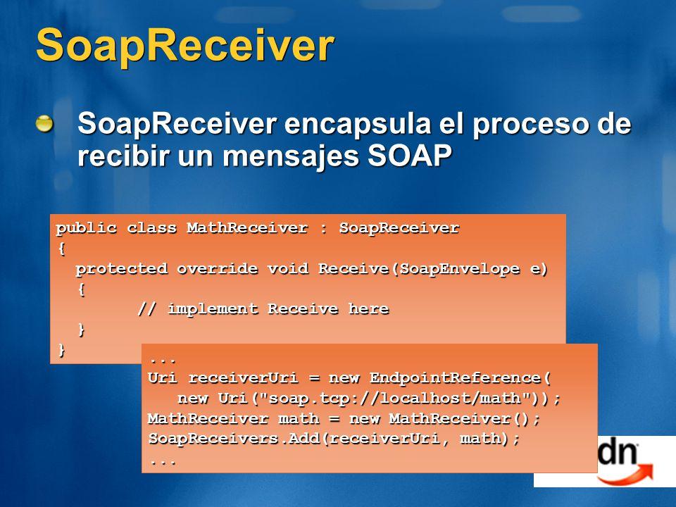 SoapReceiver SoapReceiver encapsula el proceso de recibir un mensajes SOAP public class MathReceiver : SoapReceiver { protected override void Receive(SoapEnvelope e) protected override void Receive(SoapEnvelope e) { // implement Receive here // implement Receive here }}...