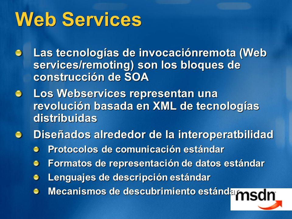 Web Services Las tecnologías de invocaciónremota (Web services/remoting) son los bloques de construcción de SOA Los Webservices representan una revolución basada en XML de tecnologías distribuidas Diseñados alrededor de la interoperatbilidad Protocolos de comunicación estándar Formatos de representación de datos estándar Lenguajes de descripción estándar Mecanismos de descubrimiento estándar