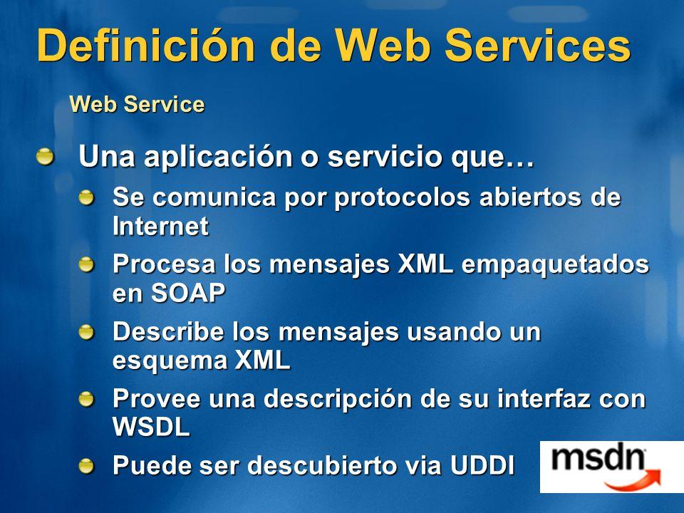 Definición de Web Services Una aplicación o servicio que… Se comunica por protocolos abiertos de Internet Procesa los mensajes XML empaquetados en SOA