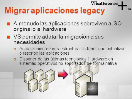Migrar aplicaciones legacy A menudo las aplicaciones sobreviven al SO original o al hardware VS permite adatar la migración a sus necesidades Actualización de infraestructura sin tener que actualizar o rescribir las aplicaciones Disponer de las últimas tecnologías Hardware en sistemas operativos no soportados de forma nativa