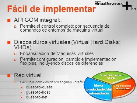 Fácil de implementar API COM integral: : Permite el control completo por secuencia de comandos de entornos de máquina virtual Discos duros virtuales (Virtual Hard Disks; VHDs) Encapsulacion de Máquinas virtuales Permite configuración, cambio e implementación flexibles, incluyendo discos de diferencias Red virtual Facilita la conexión en red segura y versátil guest-to-guest guest-to-host guest-to-net Eficiencia de hardware mejorada Amplio conjunto de soluciones Mayor productividad del administrador