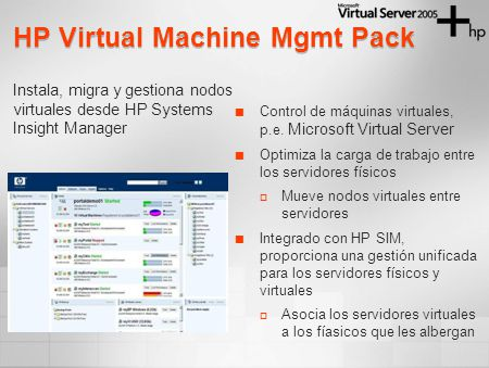 Instala, migra y gestiona nodos virtuales desde HP Systems Insight Manager HP Virtual Machine Mgmt Pack Control de máquinas virtuales, p.e. Microsoft