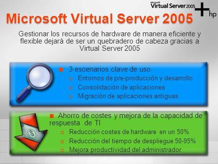 Microsoft Virtual Server 2005 3 escenarios clave de uso Entornos de pre-producción y desarrollo Consolidación de aplicaciones Migración de aplicacione