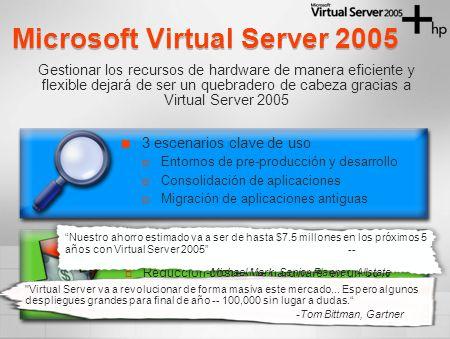 Microsoft Virtual Server 2005 3 escenarios clave de uso Entornos de pre-producción y desarrollo Consolidación de aplicaciones Migración de aplicaciones antiguas Gestionar los recursos de hardware de manera eficiente y flexible dejará de ser un quebradero de cabeza gracias a Virtual Server 2005 Ahorro de costes y mejora de la capacidad de respuesta de TI Reducción costes de hardware en un 50% Reducción del tiempo de despliegue 50-95% Mejora productividad del administrador Nuestro ahorro estimado va a ser de hasta $7.5 millones en los próximos 5 años con Virtual Server 2005-- -Michael Mark, Senior Planner, Allstate Virtual Server va a revolucionar de forma masiva este mercado...