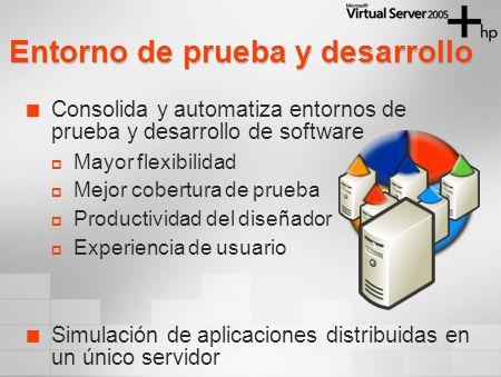 Consolida y automatiza entornos de prueba y desarrollo de software Mayor flexibilidad Mejor cobertura de prueba Productividad del diseñador Experiencia de usuario Simulación de aplicaciones distribuidas en un único servidor Entorno de prueba y desarrollo