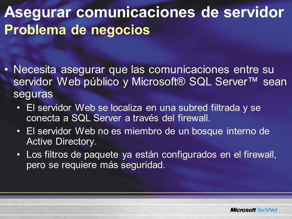 Asegurar comunicaciones de servidor Problema de negocios Necesita asegurar que las comunicaciones entre su servidor Web público y Microsoft® SQL Server sean seguras El servidor Web se localiza en una subred filtrada y se conecta a SQL Server a través del firewall.