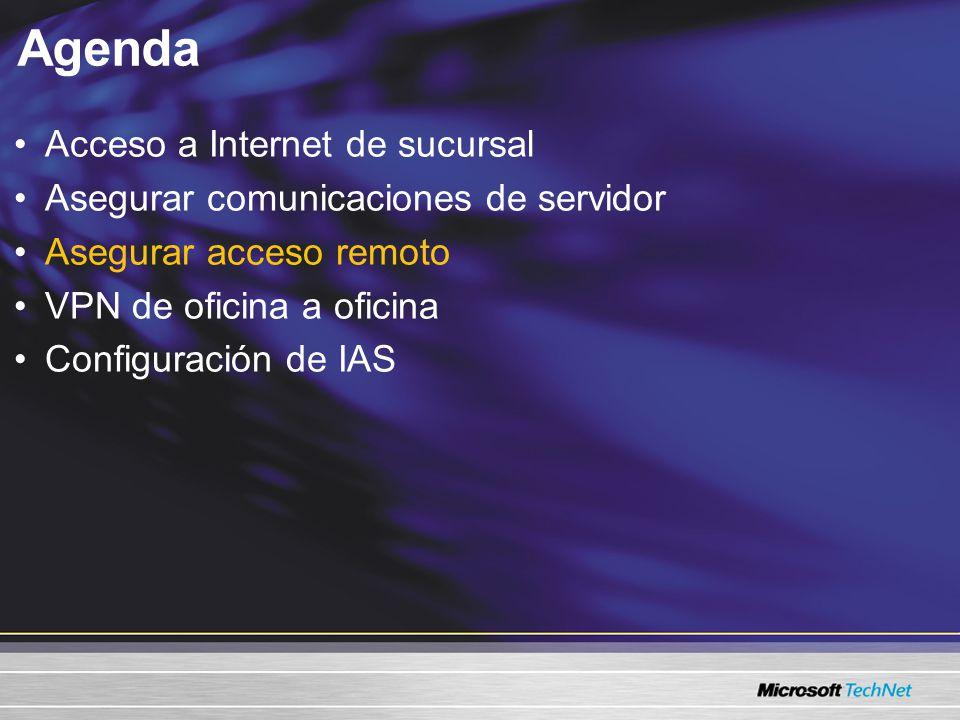 Agenda Acceso a Internet de sucursal Asegurar comunicaciones de servidor Asegurar acceso remoto VPN de oficina a oficina Configuración de IAS