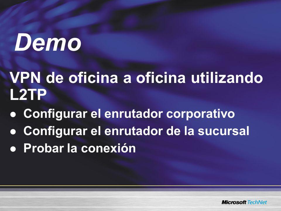 VPN de oficina a oficina utilizando L2TP Configurar el enrutador corporativo Configurar el enrutador de la sucursal Probar la conexión Demo