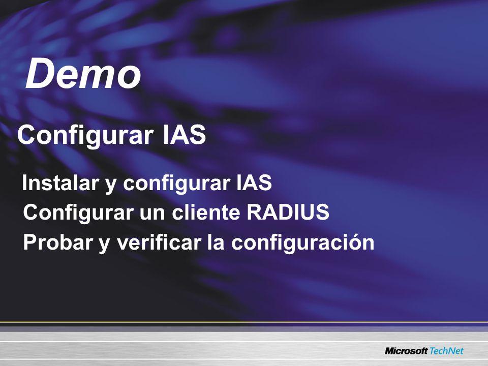 Configurar IAS Instalar y configurar IAS Configurar un cliente RADIUS Probar y verificar la configuración Demo