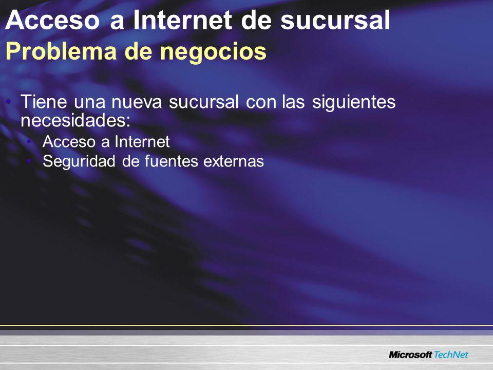 Acceso a Internet de sucursal Problema de negocios Tiene una nueva sucursal con las siguientes necesidades: Acceso a Internet Seguridad de fuentes externas