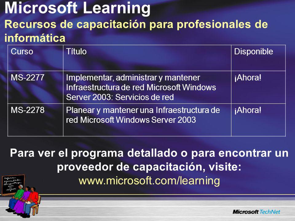 Microsoft Learning Recursos de capacitación para profesionales de informática CursoTítuloDisponible MS-2277Implementar, administrar y mantener Infraestructura de red Microsoft Windows Server 2003: Servicios de red ¡Ahora.