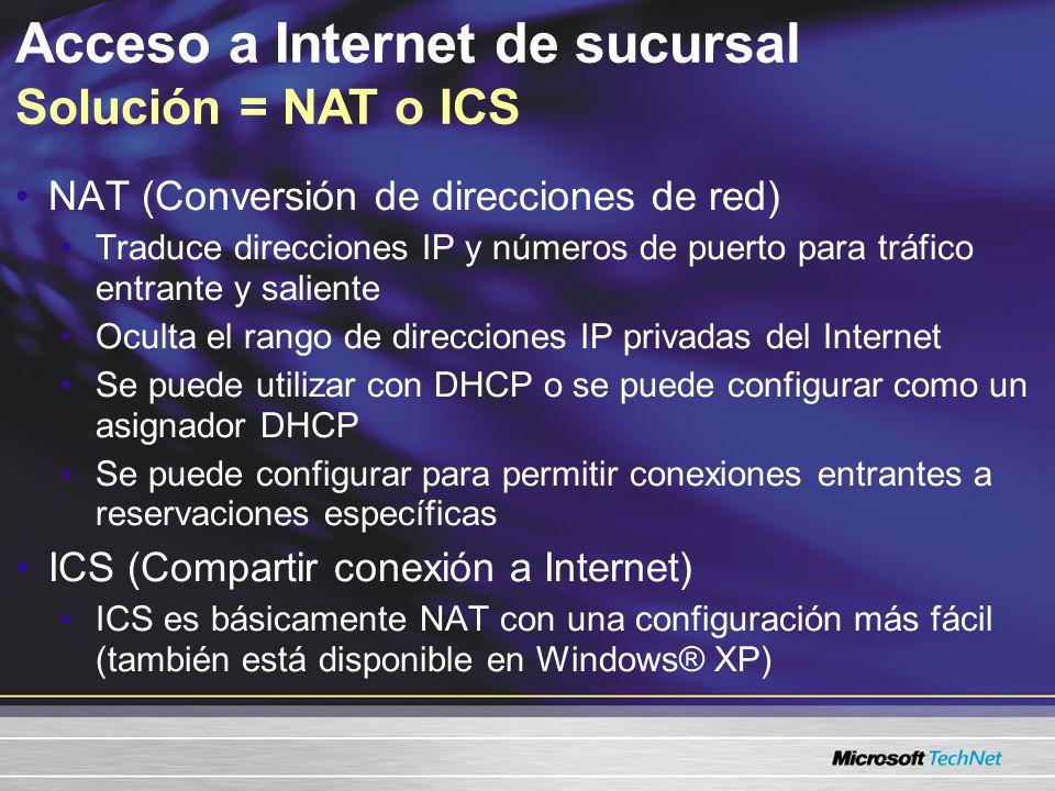 Acceso a Internet de sucursal NAT vs.