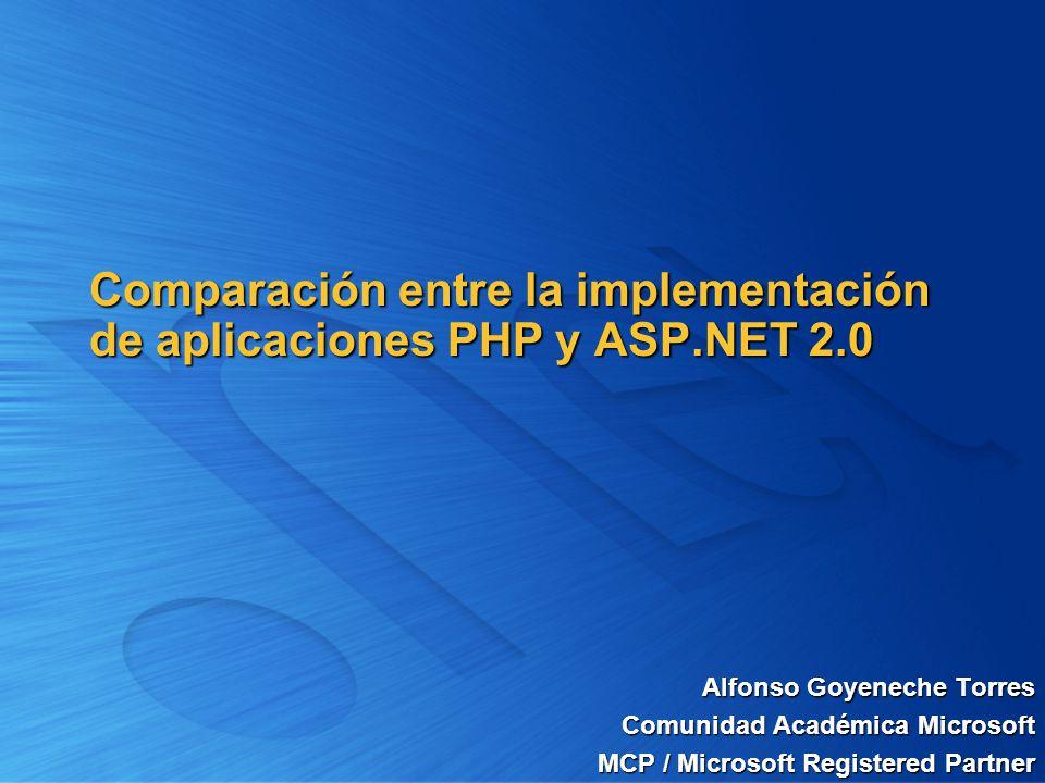 Alfonso Goyeneche Torres Comunidad Académica Microsoft MCP / Microsoft Registered Partner Comparación entre la implementación de aplicaciones PHP y AS