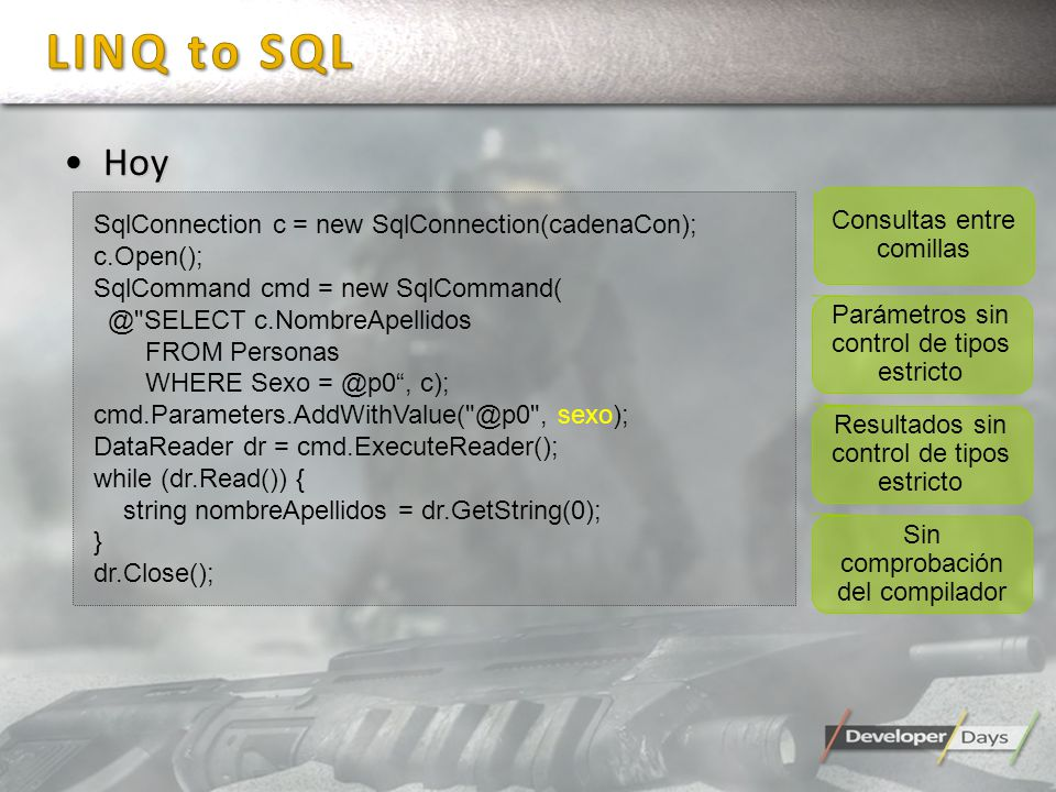 HoyHoy SqlConnection c = new SqlConnection(cadenaCon); c.Open(); SqlCommand cmd = new SqlCommand( @ SELECT c.NombreApellidos FROM Personas WHERE Sexo = @p0, c); cmd.Parameters.AddWithValue( @p0 , sexo); DataReader dr = cmd.ExecuteReader(); while (dr.Read()) { string nombreApellidos = dr.GetString(0); } dr.Close(); Consultas entre comillas Parámetros sin control de tipos estricto Resultados sin control de tipos estricto Sin comprobación del compilador