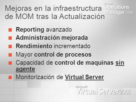 Mejoras en la infraestructura de MOM tras la Actualización Reporting avanzado Administración mejorada Rendimiento incrementado Mayor control de procesos Capacidad de control de maquinas sin agente Monitorización de Virtual Server