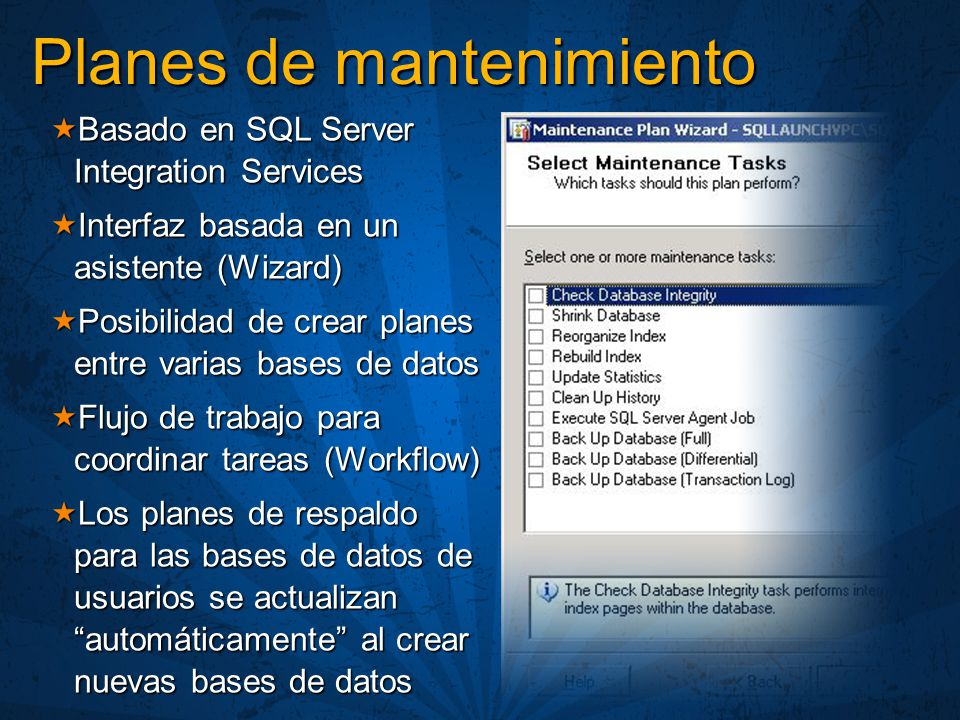 Basado en SQL Server Integration Services Basado en SQL Server Integration Services Interfaz basada en un asistente (Wizard) Interfaz basada en un asi