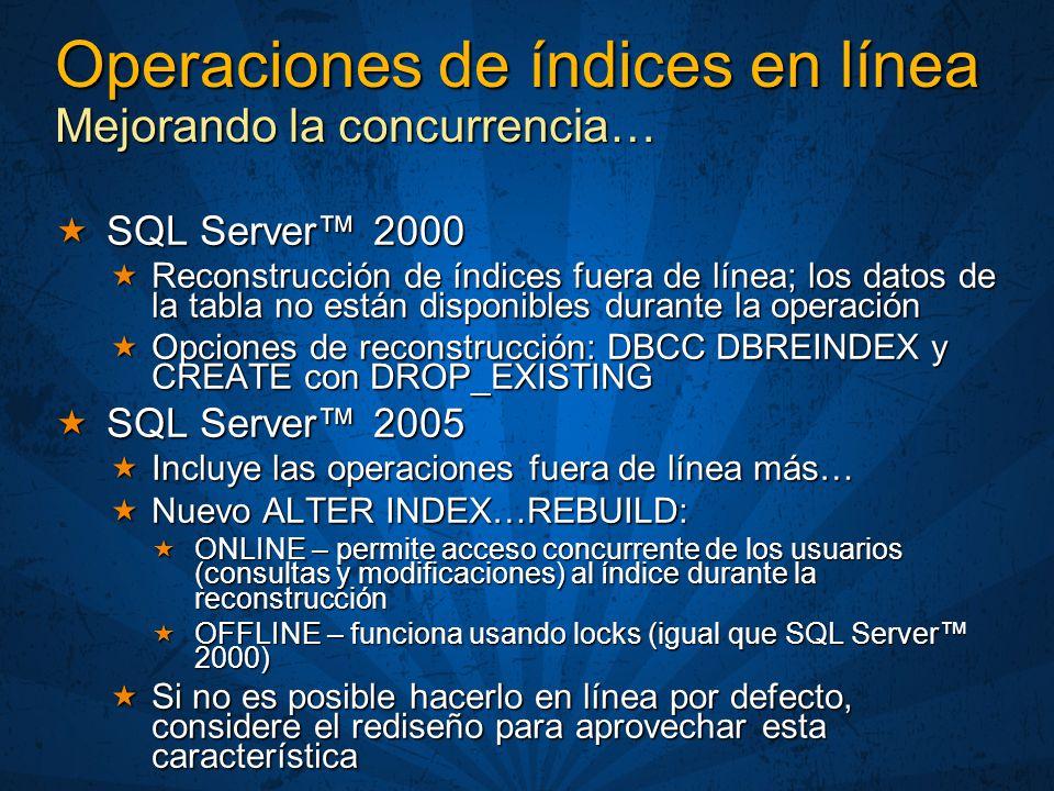 Operaciones de índices en línea Mejorando la concurrencia… SQL Server 2000 SQL Server 2000 Reconstrucción de índices fuera de línea; los datos de la tabla no están disponibles durante la operación Reconstrucción de índices fuera de línea; los datos de la tabla no están disponibles durante la operación Opciones de reconstrucción: DBCC DBREINDEX y CREATE con DROP_EXISTING Opciones de reconstrucción: DBCC DBREINDEX y CREATE con DROP_EXISTING SQL Server 2005 SQL Server 2005 Incluye las operaciones fuera de línea más… Incluye las operaciones fuera de línea más… Nuevo ALTER INDEX…REBUILD: Nuevo ALTER INDEX…REBUILD: ONLINE – permite acceso concurrente de los usuarios (consultas y modificaciones) al índice durante la reconstrucción ONLINE – permite acceso concurrente de los usuarios (consultas y modificaciones) al índice durante la reconstrucción OFFLINE – funciona usando locks (igual que SQL Server 2000) OFFLINE – funciona usando locks (igual que SQL Server 2000) Si no es posible hacerlo en línea por defecto, considere el rediseño para aprovechar esta característica Si no es posible hacerlo en línea por defecto, considere el rediseño para aprovechar esta característica