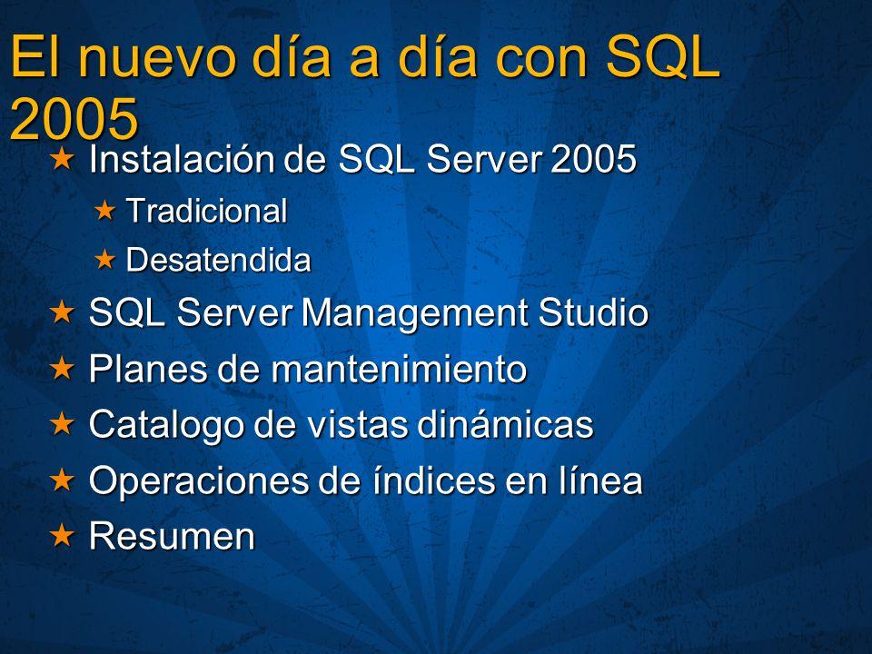 Interfaz del catalogo SQL Server motor relacional Estructuras de memoria Información estadística DMVs y DMFs BD Recursos BD Recursos (visible como esquema sys) SPs, Vistas, Tablas, etc.