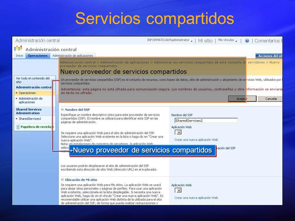 Servicios compartidos Nuevo proveedor de servicios compartidos