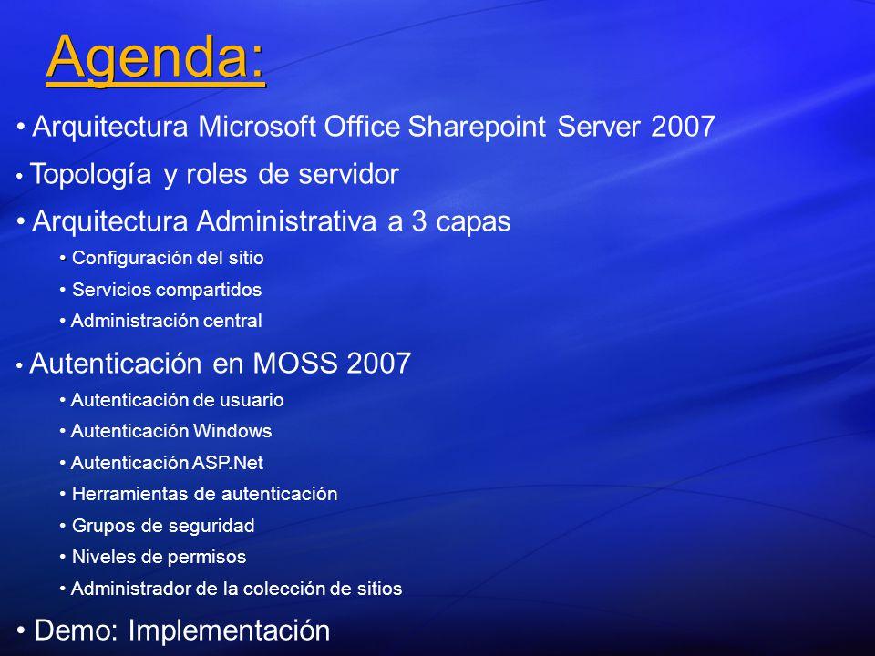 Agenda: Arquitectura Microsoft Office Sharepoint Server 2007 Topología y roles de servidor Arquitectura Administrativa a 3 capas Configuración del sitio Servicios compartidos Administración central Autenticación en MOSS 2007 Autenticación de usuario Autenticación Windows Autenticación ASP.Net Herramientas de autenticación Grupos de seguridad Niveles de permisos Administrador de la colección de sitios Demo: Implementación