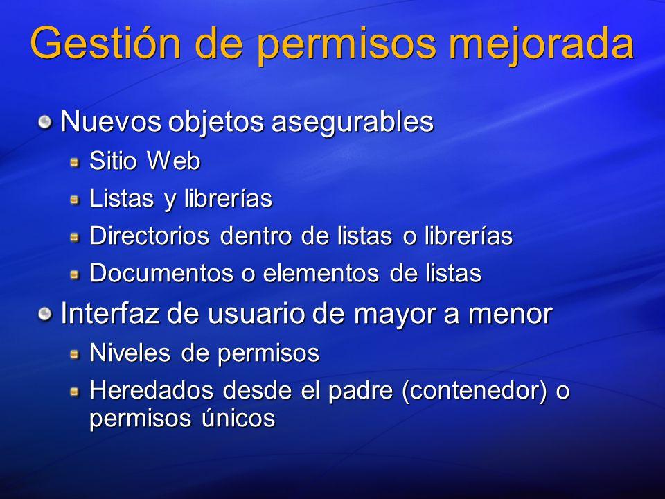 Gestión de permisos mejorada Nuevos objetos asegurables Sitio Web Listas y librerías Directorios dentro de listas o librerías Documentos o elementos de listas Interfaz de usuario de mayor a menor Niveles de permisos Heredados desde el padre (contenedor) o permisos únicos